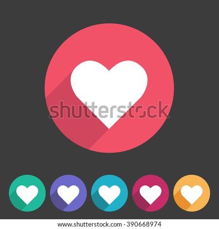 heart  love icon flat web sign