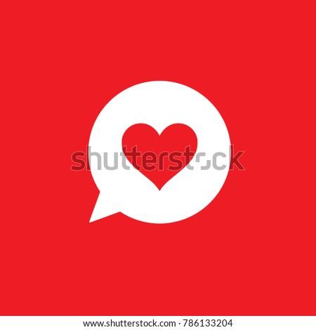 Heart love icon, social media like reaction