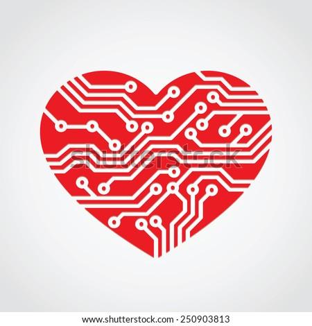 heart love   technology concept