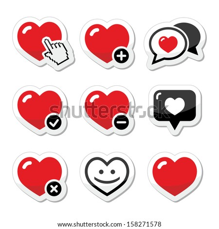 heart  love vector icons set