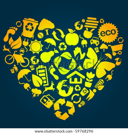 Heart made of eco icons