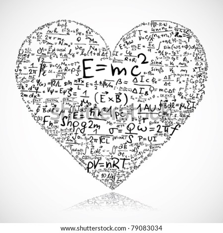 Heart made of equations and formula