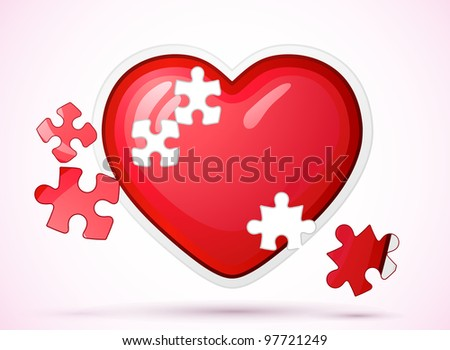 Heart made of jigsaw puzzle