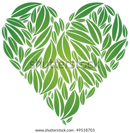 Heart made of Leaves in Green