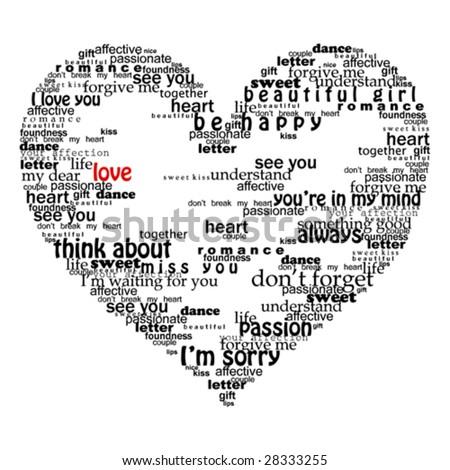 heart made of love words valentine vector illustration