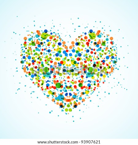 Heart made with color spots. Vector