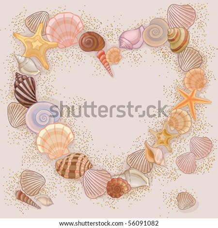 heart made with seashells and
