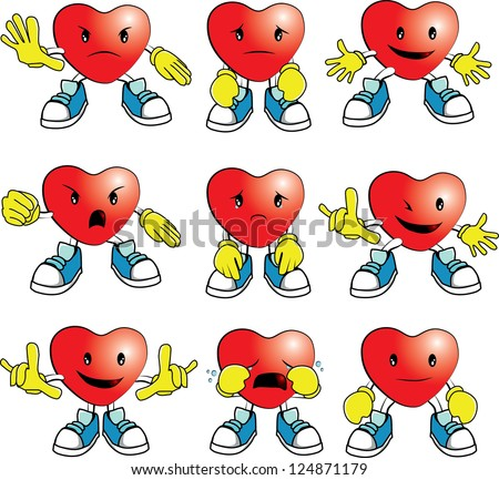 heart man cartoon in many emotions; happy, smile, cry, sad, angry