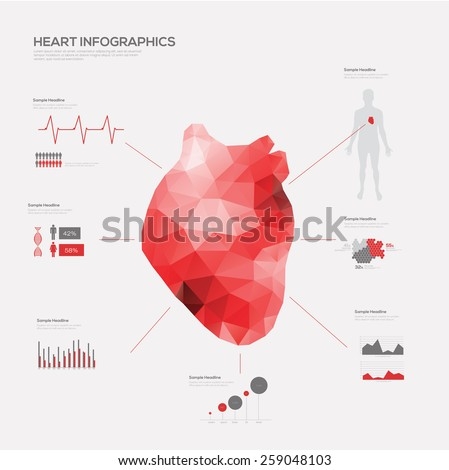 heart medical infographic set