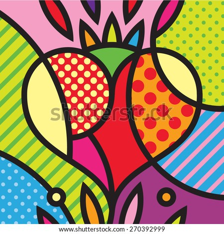 Heart Mexico Love Pop-art modern illustration for your design