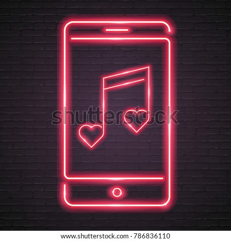 heart music note on the phone