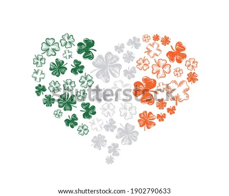 Heart of clover. Patrick's day. Hand drawn illustration. Vector. Foto d'archivio ©