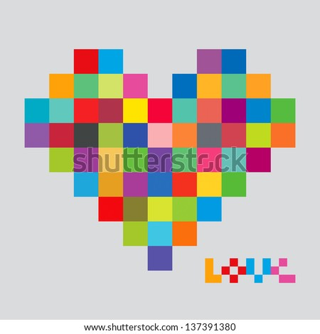 Heart of color pixels Heart bit Pixel art Love