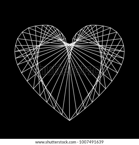 Heart of fine thread, like cobwebs. Transparent and lacy. Vector illustration.