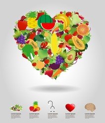 Heart of fruits and vegetables, vector illustration template design