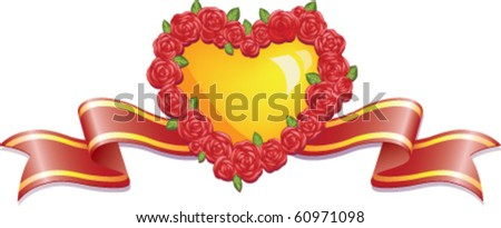 Heart of Gold in a wreath of roses with a ribbon