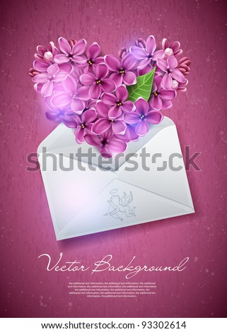 heart of lilac flowers in an