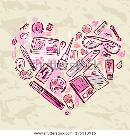 Heart of Makeup products set Cosmetics Hand drawn Vector Illustration