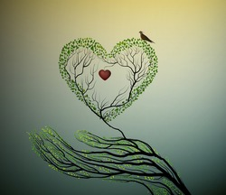 heart of nature, treelike hand hold green heart, protect forest concept, vector