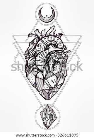 Heart of stone with moons and gems. Design tattoo art. Isolated vector illustration. Trendy Vintage style element. Dark romance, philosophy, spirituality, occultism, alchemy, magic, love.