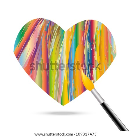 Heart of the oil paints. Eps10 vector.