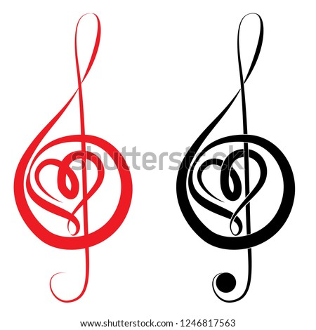 Heart of treble clef and bass love music valentine day vector illustration
