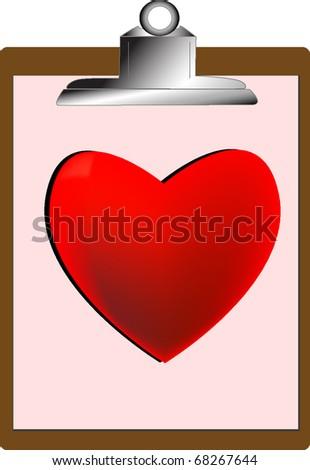 Heart on Clip Board