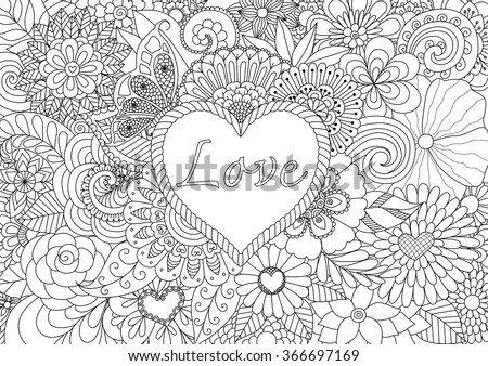 heart on flowers for coloring