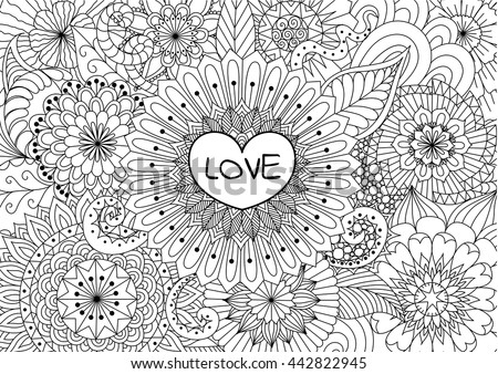 Heart On Flowers For Coloring Books Adult Or Valentines Card