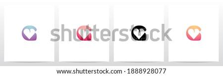 Heart On Letter Logo Design G Stock fotó ©