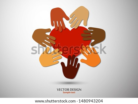 Heart, open palms. Icon, flat design. The concept of charity, volunteering, love, kindness, family, social problems. Vector illustration for your design. Photo stock ©