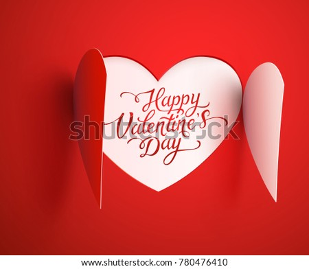 Heart opening effect. Valentines paper element with lettering on red background. Vector symbol of love for Happy Valentine's Day greeting card design. #780476410