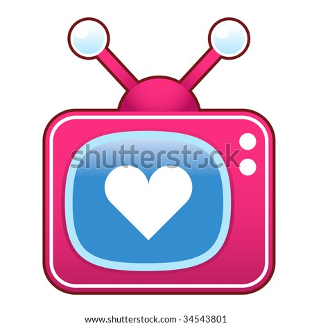 Heart or love icon on pink retro television set suitable for use in print, on websites, and in promotional materials.