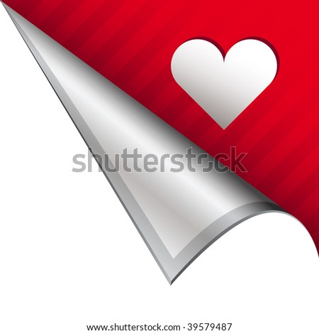 Heart or Love icon on vector peeled corner tab suitable for use in print, on websites, or in advertising materials.