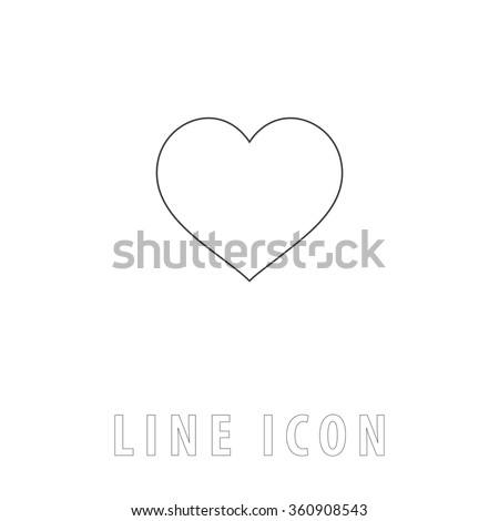 heart Outline simple vector icon on white background. Line pictogram with text