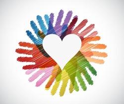 heart over diversity hands circle illustration design concept