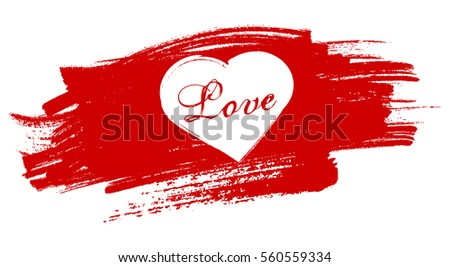 heart painted over red brush