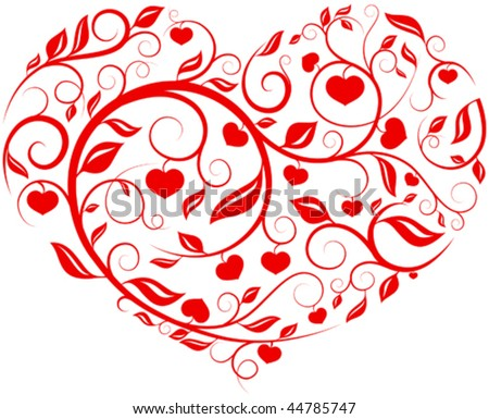 Heart pattern - Love, valentine, pattern series vector with interesting ornament details - hearts, sticks, leafs etc.