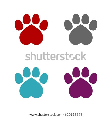 Heart Paw Print Set Logo Template