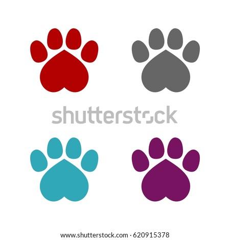 Heart Paw Print Set Logo Template Illustration Design. Vector EPS 10.