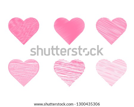 dd4b33b64d0 Heart pink icon vector in pencil stripes line set. Love symbol for  Valentine s Day sign