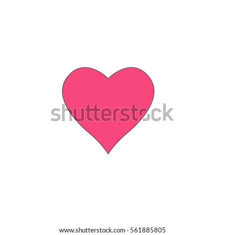 Heart Pink Vector Icon With Black Contour Line Flat Computer Symbol