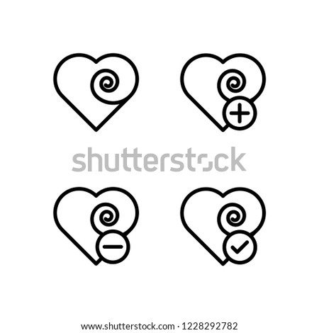 heart, plus, check, minus sign icons. Element of outline button icons. Thin line icon for website design and development, app development