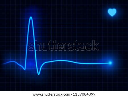 Heart pulse. Cardiogram. Cardiogram health medical heartbeat pulse. Vector illustration