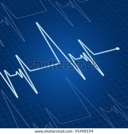 Heart pulse on blue screen for medicine and cardiology design