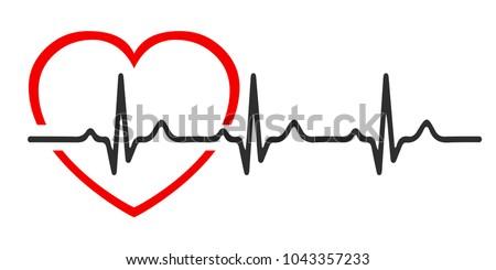Heart pulse, one line, cardiogram, heartbeat - vector