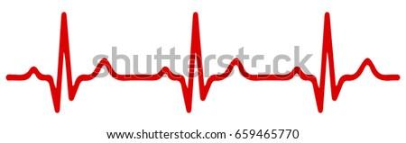 Heart pulse, one line, cardiogram - stock vector