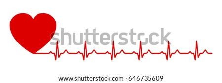 Heart pulse, one line - for stock
