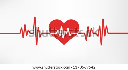 Heart pulse. Red and white colors. Heartbeat lone, cardiogram. Beautiful healthcare, medical background. Modern simple design. Icon. sign or logo. Flat style vector illustration.