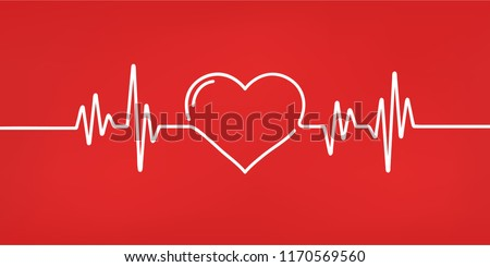 Heart pulse. Red and white colors. Heartbeat lone, cardiogram. Beautiful healthcare, medical background. Modern simple design. Icon. sign or logo. Flat style vector illustration. Foto stock ©